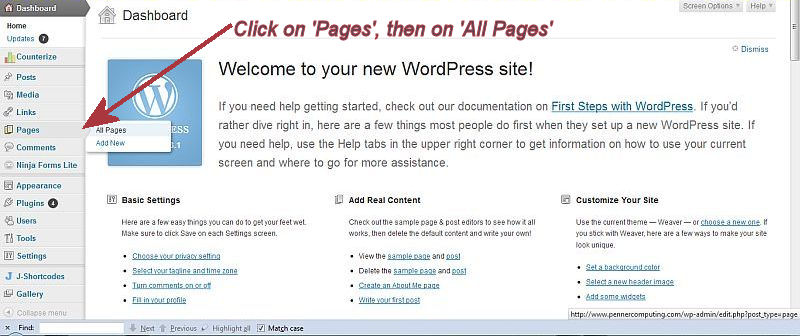Word Press Welcome Screen